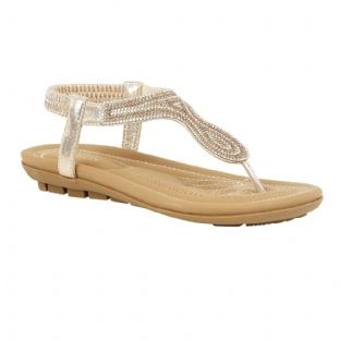 Lotus Womens Delia Gold Flat Toe-Post Sandals